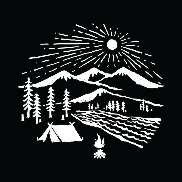 Acampar caminhadas aventura natureza ilustração gráfico arte vetorial design de t-shirt Vetor Premium