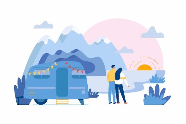 Acampar com uma caravana Vetor grátis