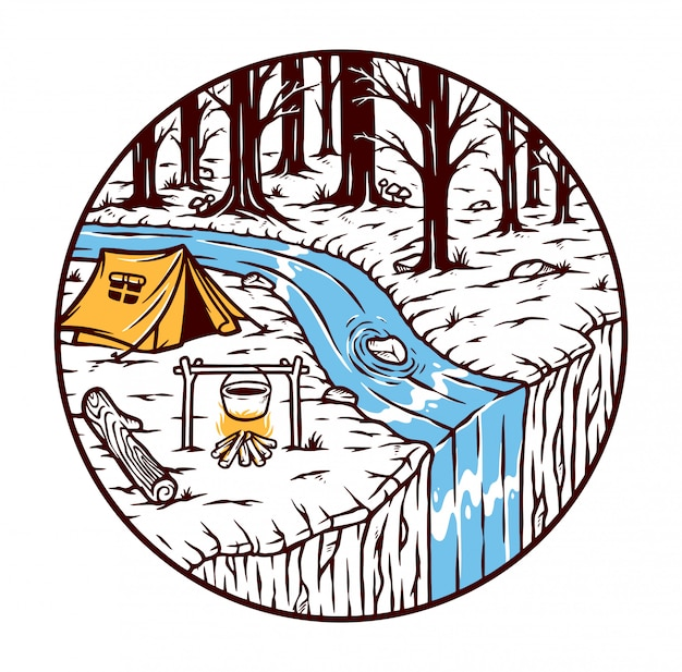 Acampar na floresta Vetor Premium
