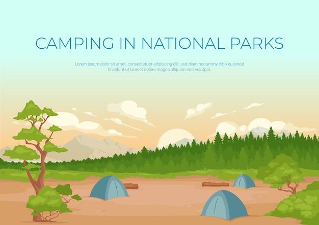 Acampar nos parques nacionais banner modelo plano. recreação ativa de verão. brochura, projeto de conceito de uma página de livreto com paisagem de desenho animado. folheto horizontal do local do acampamento, folheto Vetor Premium