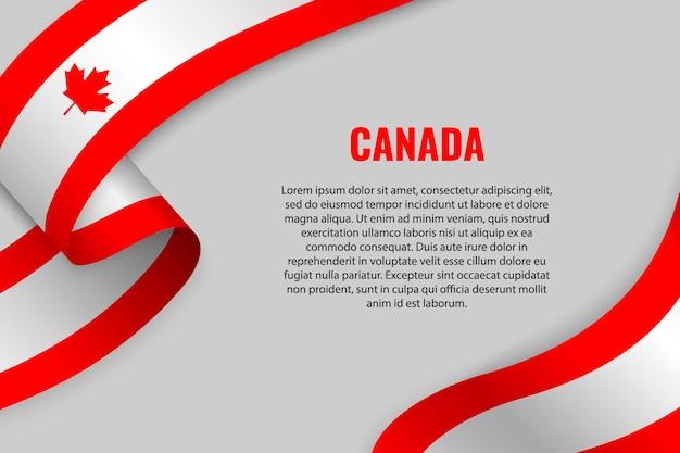 Acenando a fita ou banner com a bandeira do canadá. modelo Vetor Premium