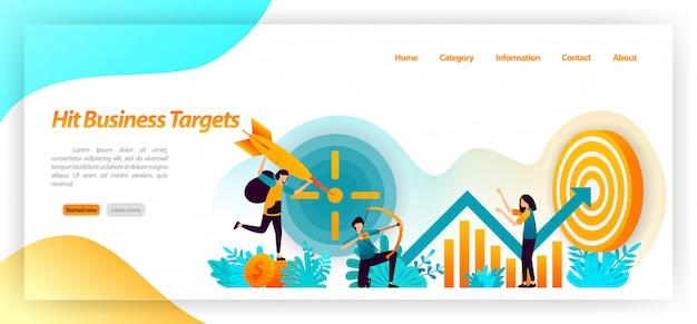 Acerte o alvo de negócios. metas de realização de tiro com arco com estratégia e foco em dados e análise de gráficos. modelo de página da página de destino Vetor Premium
