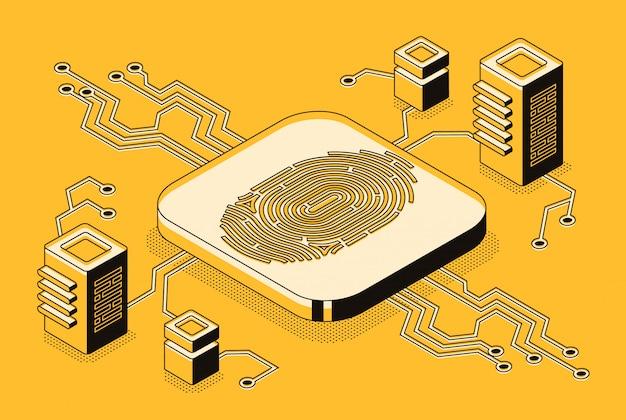 Acesso de segurança digital com dados biométricos Vetor grátis
