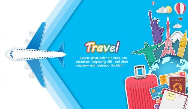Acessórios de avião e bagagem viajam pelo mundo Vetor Premium