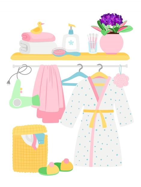 Acessórios de banheiro, itens de higiene, roupão de banho, ilustração de cesto de roupa suja Vetor Premium
