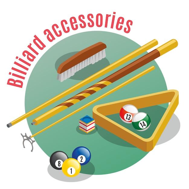 Acessórios de bilhar isométricos com texto editável e vista closeup de varas de bolas da sorte e mesa Vetor grátis