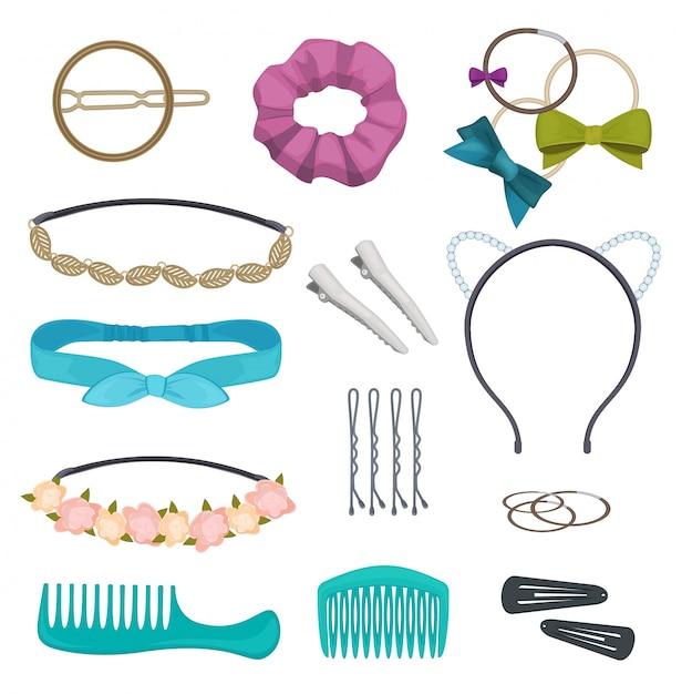Acessórios de cabelo. item de cabelo à moda mulher clipes flores bandanas gags arcos elásticos aros dos desenhos animados Vetor Premium