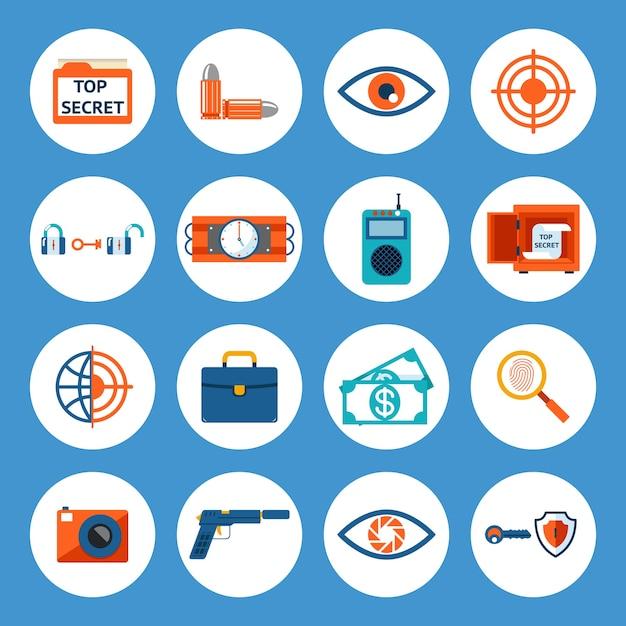 Acessórios de espião sortidos de vetor e ícones de gadget isolados sobre fundo azul. Vetor grátis