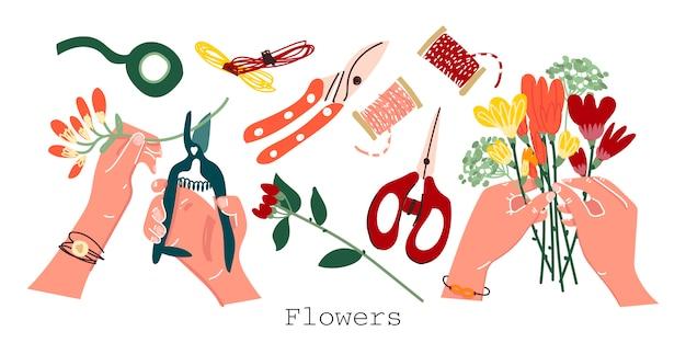Acessórios de florista em um fundo isolado. bouquet na mão, corte de flores, tesoura, tesoura de poda, fita floral. Vetor Premium