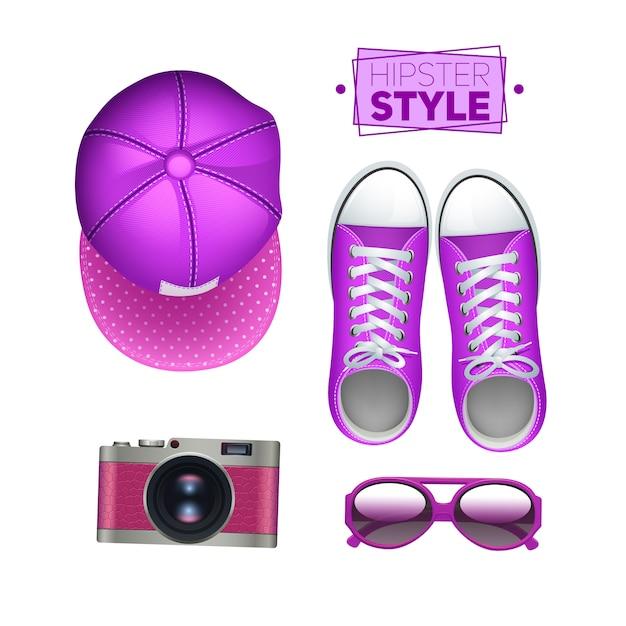 Acessórios de garota hipster conjunto com gumshoes cap câmera fotográfica e óculos de sol Vetor grátis