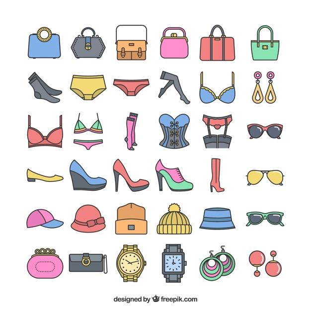 Acessórios de moda icônicas Vetor grátis
