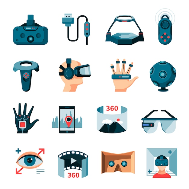 Acessórios de realidade aumentada virtual Vetor grátis