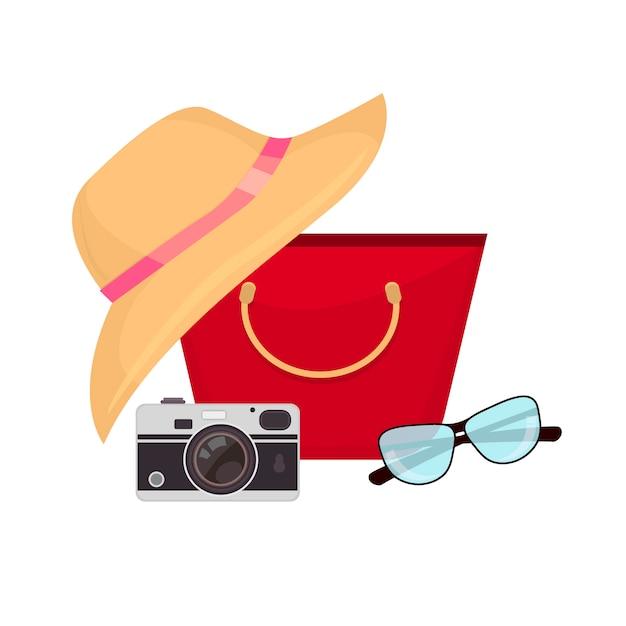 Acessórios de verão, maiô, óculos de sol, bolsa e flip-flops. Vetor Premium