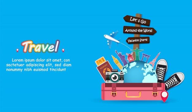 Acessórios de viagem para malas em todo o mundo. Vetor Premium