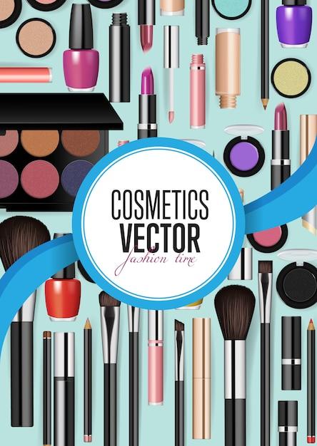 Acessórios modernos de cosméticos Vetor Premium