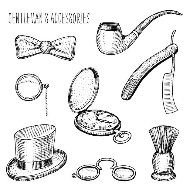 Acessórios para cavalheiros. hipster ou empresário, era vitoriana. mão gravada desenhada no desenho vintage antigo. Vetor Premium
