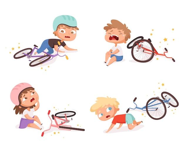 Acidente de bicicleta. crianças caídas danificadas bicicleta quebrada crianças acidentes de transporte ajudando personagens de pessoas. Vetor Premium