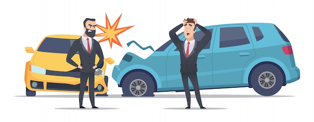 Acidente de carro. carros danificados com raiva homens assustados. personagem de empresários e carros batidos Vetor Premium
