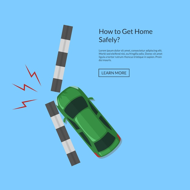 Acidente de carro com vista superior de trilha acima de ilustração Vetor Premium
