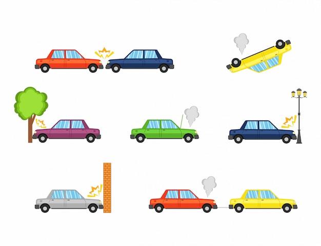 Acidente de carro e acidentes Vetor Premium