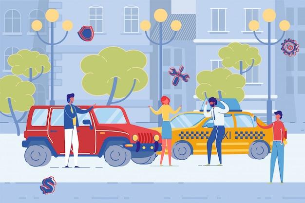 Acidente de carro na estrada da cidade, danos de veículos plana. Vetor Premium