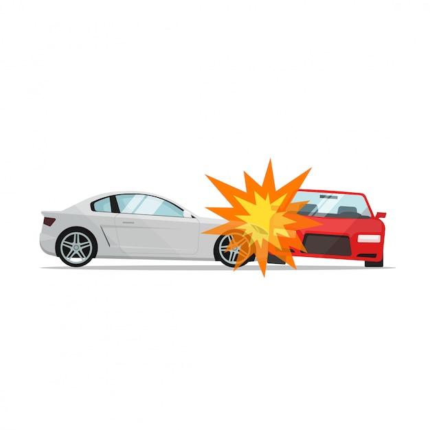 Acidente de carro Vetor Premium