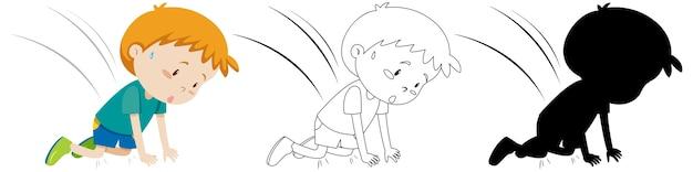 Acidente de menino caiu no outono em cor, silhueta e contorno Vetor grátis