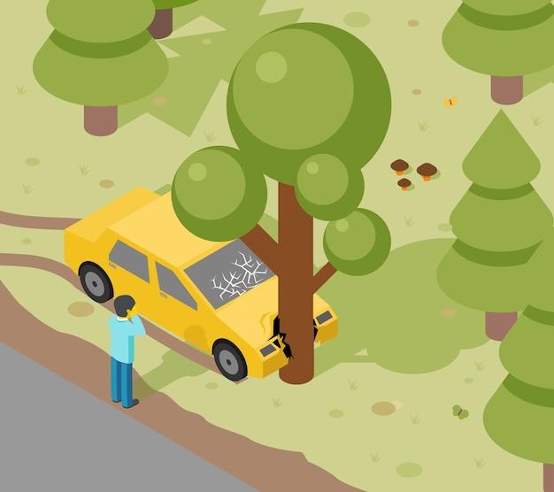 Acidente na árvore do carro. perigo isométrico de acidente automático, risco e transporte Vetor grátis