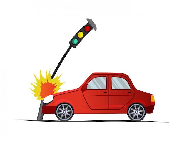 Acidente na estrada. carro encontrou um semáforo. ilustração do veículo colisão, danificar o automóvel caso de seguro. auto quebrado dos desenhos animados Vetor Premium