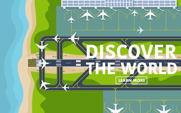 Acima, topdown, vista, de, a, aeroporto, pista Vetor Premium