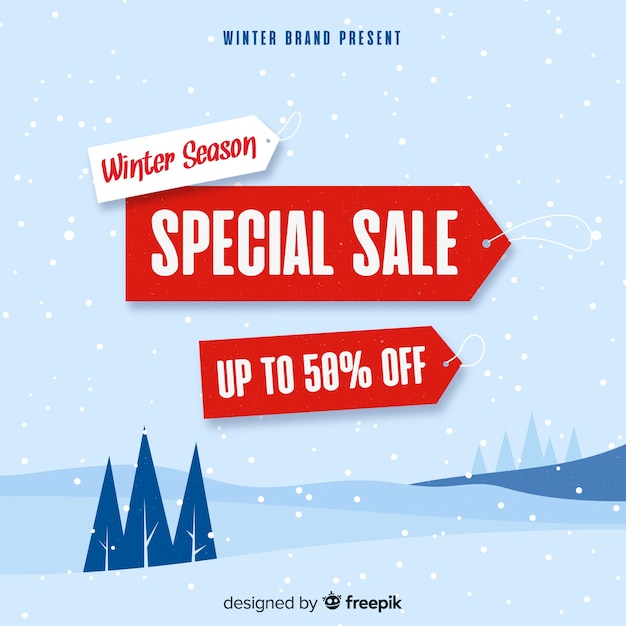 Ackground de venda de inverno Vetor grátis