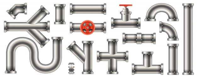 Aço metal água, óleo, gasoduto, canos de esgoto Vetor Premium