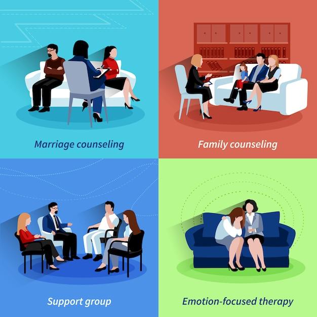 Aconselhamento de relacionamento 4 ícones planos quare Vetor grátis