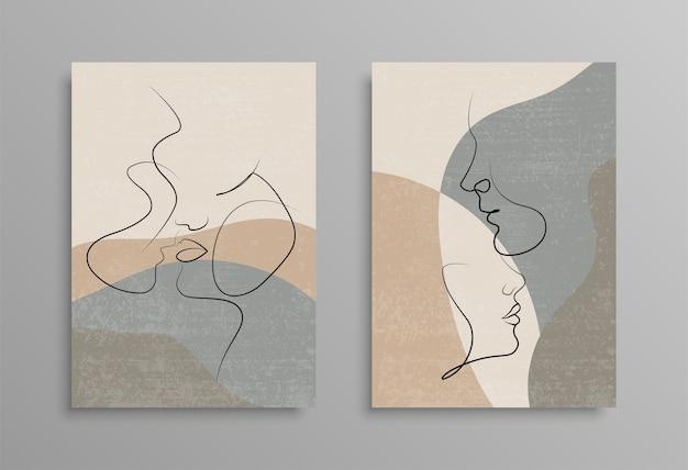 Acople um desenho de linha. capa design de cartaz. love print. casal beijando desenho de linha. estoque . Vetor Premium