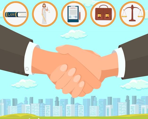 Acordo da ilustração do vetor e elaboração do contrato. Vetor Premium
