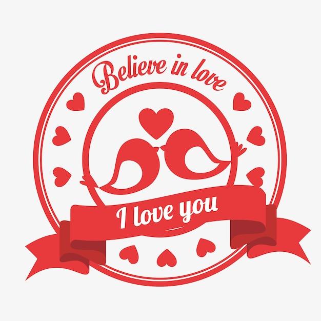 Acreditar no amor emblema eu amo você pássaros beijado coração Vetor Premium