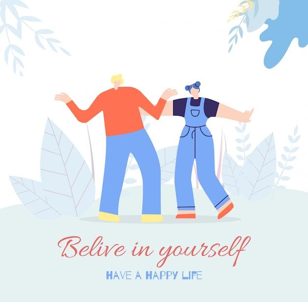Acredite-se feliz vida pessoas motivação cartão Vetor grátis