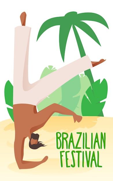 Acrobata de homem na praia em palmeiras de fundo. Vetor Premium