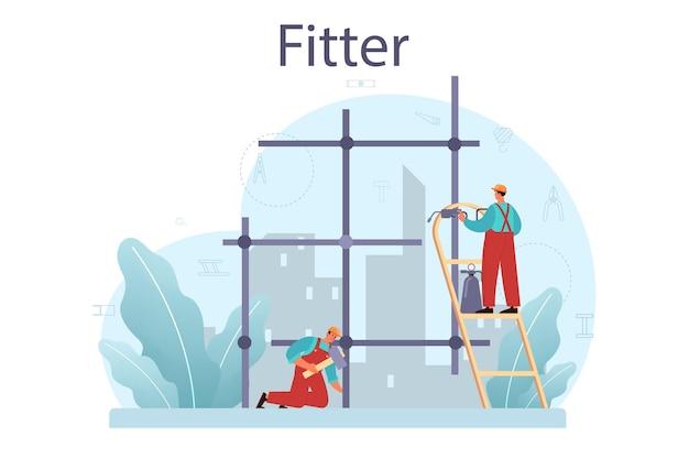 Adaptador ou instalador. construtor industrial no canteiro de obras. trabalhadores profissionais construindo uma casa com ferramentas e materiais. desenvolvimento da cidade. Vetor Premium