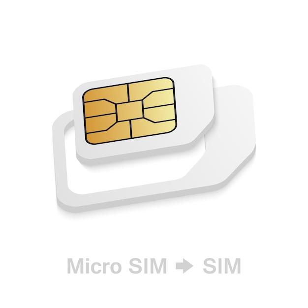 Adaptador realista de cartão sim micro para padrão Vetor Premium