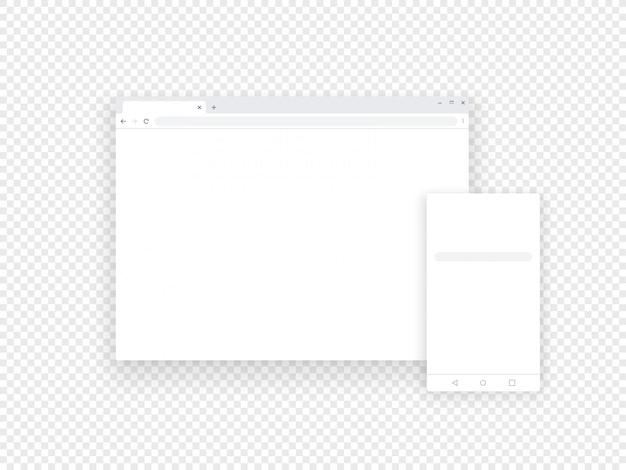Adaptável móvel e navegadores da web isolados em transparente Vetor Premium
