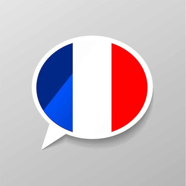 Adesivo brilhante brilhante em forma de bolha do discurso com a bandeira da frança, o conceito de língua francesa Vetor Premium