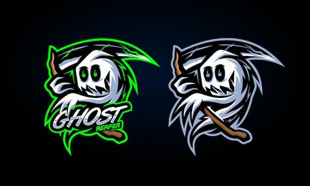 Adesivo ceifador fantasma assustador Vetor Premium