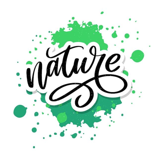 Adesivo de 100 letras verdes naturais com caligrafia brushpen. eco conceito amigável para adesivos, banners, cartões, propaganda. natureza ecológica. Vetor Premium