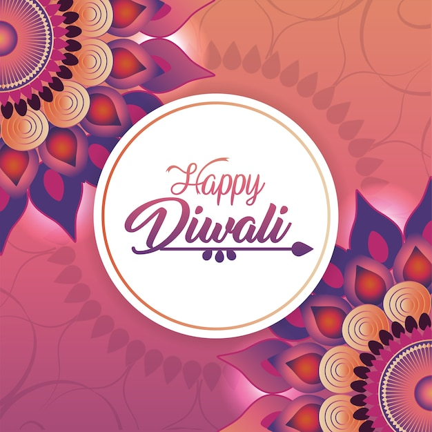 Adesivo de diwali de círculo com mandalas de flores Vetor Premium