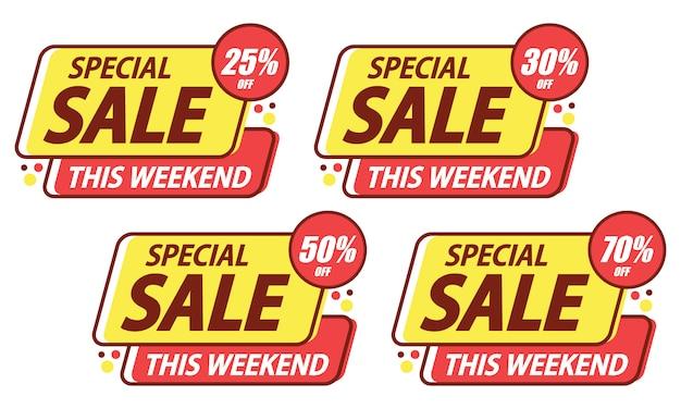 Adesivo de modelo de venda especial Vetor Premium