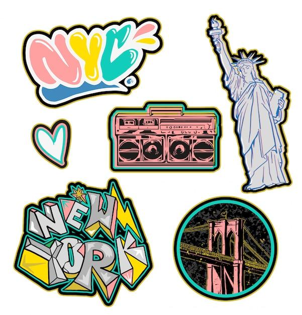 Adesivo de patches coloridos na moda cenografia com edifícios da cidade de nova york e inscrição de grafite para acessórios de roupas de moda beleza como camiseta de bombardeiro de moletom imprimir ilustração street wear Vetor Premium