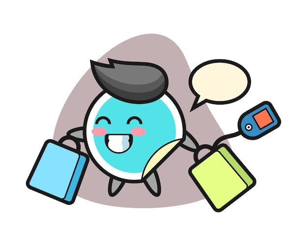 Adesivo dos desenhos animados segurando uma sacola de compras Vetor Premium