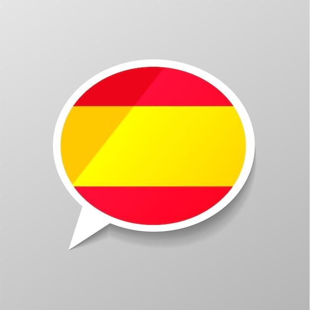Adesivo lustroso brilhante em forma de bolha do discurso com bandeira de espanha, conceito de língua espanhola Vetor Premium