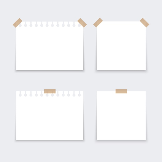 Adesivos brancos quadrados. Vetor Premium